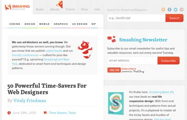 http://www.smashingmagazine.com/2010/06/28/50-powerful-time-savers-for-web-designers/