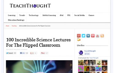 http://www.teachthought.com/teaching/100-incredible-science-lectures-for-the-flipped-classroom/