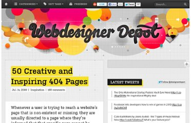 http://www.webdesignerdepot.com/2009/07/50-creative-and-inspiring-404-pages/