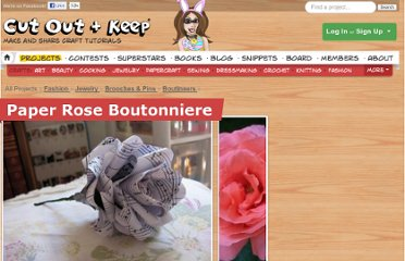 http://www.cutoutandkeep.net/projects/paper-rose-boutonniere