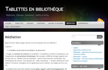 http://tablettesenbibliotheque.wordpress.com/formation-mediation/