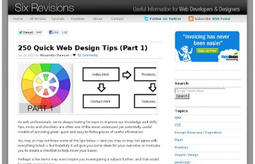 http://sixrevisions.com/web_design/250-quick-web-design-tips-part-1/