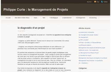 http://phcurie.wordpress.com/2010/06/10/le-diagnostic-dun-projet/