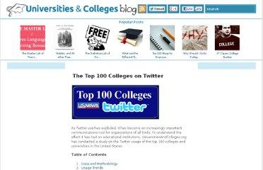 http://www.universitiesandcolleges.org/blog/top-100-colleges-twitter/