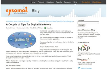 http://blog.sysomos.com/2012/10/17/tips-for-marketers/