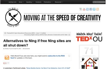 http://www.speedofcreativity.org/2010/04/16/alternatives-to-ning-if-free-ning-sites-are-all-shut-down/