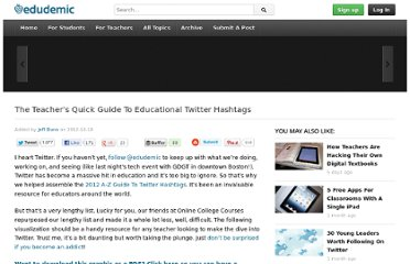 http://edudemic.com/2012/10/the-teachers-quick-guide-to-educational-twitter-hashtags/