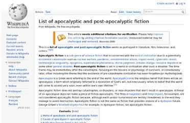 http://en.wikipedia.org/wiki/List_of_apocalyptic_and_post-apocalyptic_fiction