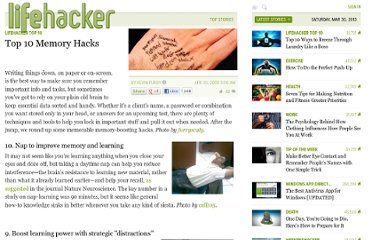 http://lifehacker.com/384954/top-10-memory-hacks
