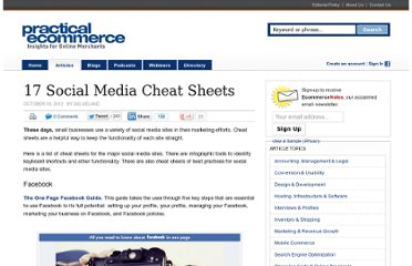 http://www.practicalecommerce.com/articles/3768-17-Social-Media-Cheat-Sheets#