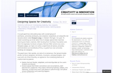http://keithsawyer.wordpress.com/2012/10/20/designing-spaces-for-creativity/