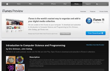 https://itunes.apple.com/us/itunes-u/introduction-to-computer-science/id341597455