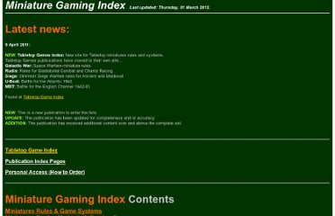 http://members.iinet.net.au/~avalon11/IMPRINT/Miniatures%20Gaming%20Index/Miniature%20Gaming%20Index.htm
