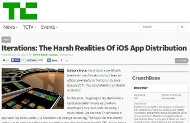 http://techcrunch.com/2012/10/21/iterations-the-harsh-realities-of-ios-app-distribution/