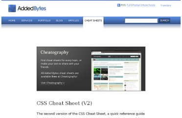 http://www.addedbytes.com/cheat-sheets/css-cheat-sheet/