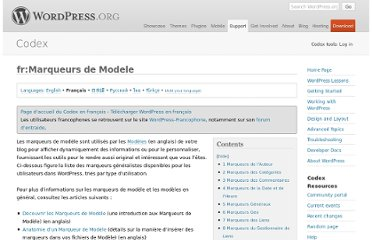 http://codex.wordpress.org/fr:Marqueurs_de_Modele