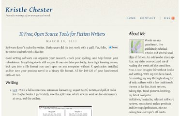 http://kristlechester.com/2011/03/19/10-free-open-source-tools-for-fiction-writers/