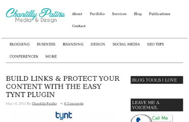 http://www.chantillypatino.com/build-links-protect-your-content-with-tynt/