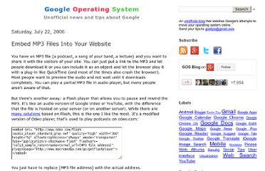 http://googlesystem.blogspot.com/2006/07/embed-mp3-files-into-your-website.html