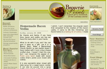 http://www.browniepointsblog.com/2008/01/20/homemade-bacon-vodka/