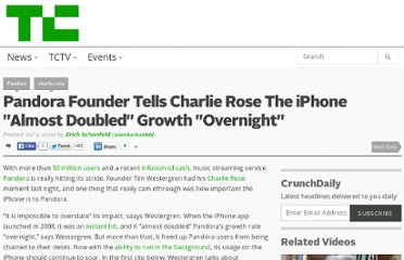 http://techcrunch.com/2010/07/02/pandora-charlie-rose/