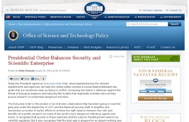 http://www.whitehouse.gov/blog/2010/07/02/presidential-order-balances-security-and-scientific-enterprise