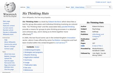 http://en.wikipedia.org/wiki/Six_Thinking_Hats
