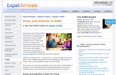 http://www.expatarrivals.com/india/delhi/areas-and-suburbs-in-delhi