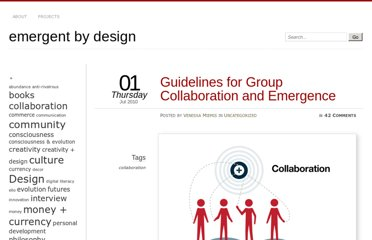 http://emergentbydesign.com/2010/07/01/guidelines-for-group-collaboration-and-emergence/
