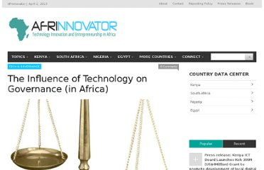http://afrinnovator.com/blog/2012/10/25/the-influence-of-technology-governance-in-africa/
