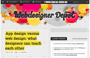 http://www.webdesignerdepot.com/2011/08/app-design-versus-web-design-what-designers-can-teach-each-other/