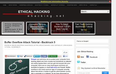 http://www.ehacking.net/2011/11/buffer-overflow-attack-tutorial.html