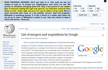 http://en.wikipedia.org/wiki/List_of_mergers_and_acquisitions_by_Google