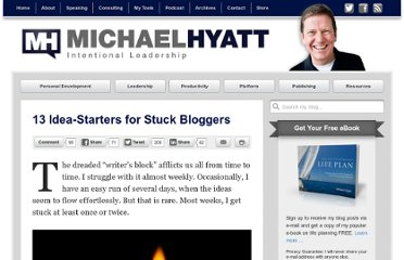 http://michaelhyatt.com/13-idea-starters-for-stuck-bloggers.html
