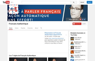http://www.youtube.com/user/francaisauthentique