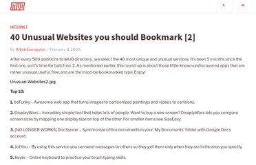 http://www.makeuseof.com/tag/40-unusual-websites-you-should-bookmark/