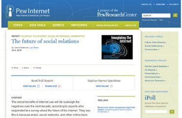 http://pewinternet.org/Reports/2010/The-future-of-social-relations.aspx