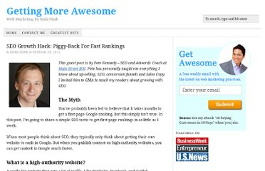 http://www.gettingmoreawesome.com/2012/10/29/seo-growth-hack-piggy-back-for-fast-rankings/
