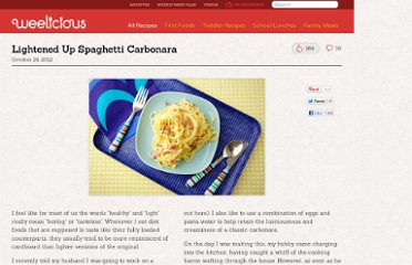 http://weelicious.com/2012/10/24/lightened-up-spaghetti-carbonara/