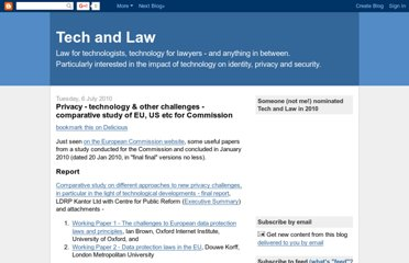 http://blog.tech-and-law.com/2010/07/privacy-technology-other-challenges.html