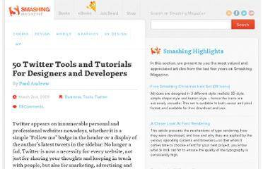 http://www.smashingmagazine.com/2009/03/02/twitter-web-designer-and-developer-toolbox-api-and-tutorials/
