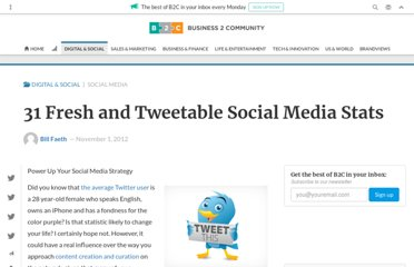 http://www.business2community.com/social-media/31-fresh-and-tweetable-social-media-stats-0321278