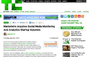 http://techcrunch.com/2010/07/06/marketwire-acquires-social-media-monitoring-and-analytics-startup-sysomos/