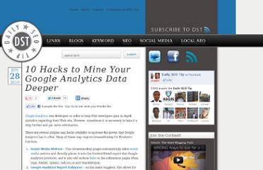 http://dailyseotip.com/10-hacks-to-mine-your-google-analytics-data-deeper/937/