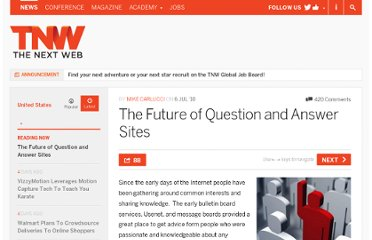 http://thenextweb.com/us/2010/07/06/the-future-of-question-and-answer-sites/