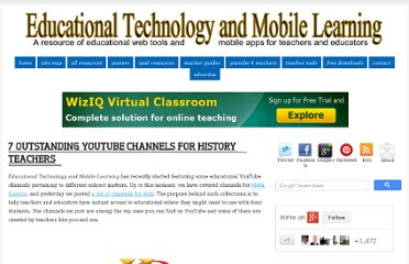 http://www.educatorstechnology.com/2012/11/7-outstanding-youtube-channels-for.html