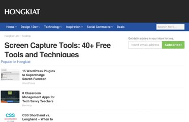 http://www.hongkiat.com/blog/screen-capture-tools-40-free-tools-and-techniques/