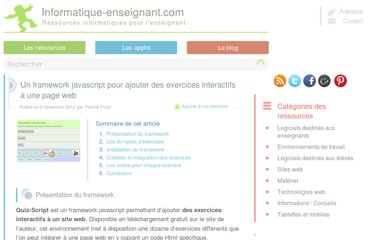 http://www.informatique-enseignant.com/framework-javascript-exercices-interactifs/