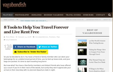 http://www.vagabondish.com/8-tools-travel-long-term-live-rent-free/