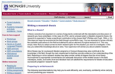 http://www.education.monash.edu.au/students/current/study-resources/thesiswriting.html
